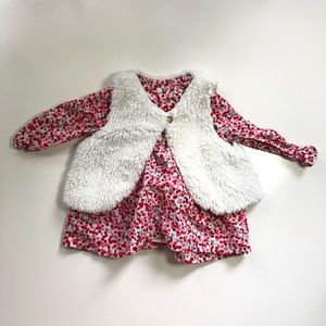 Gymboree Long Sleeve Top With Fur Vest 12-18 Month